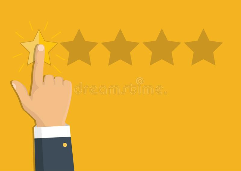 Veranschlagende goldene Sterne Feedback, Ansehen und Qualitätskonzept stock abbildung