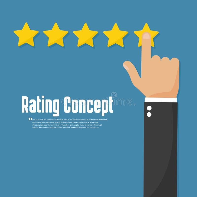 Veranschlagende goldene Sterne Kundenberichtkonzept-Vektorikone lizenzfreie abbildung