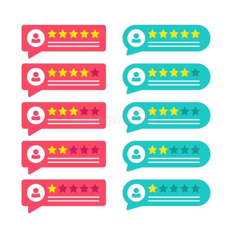 Veranschlagende Sternausweise Feedback oder Bewertung Rang, Niveau der Zufriedenheits-Bewertung Kunden-Produktbewertungsbericht m vektor abbildung