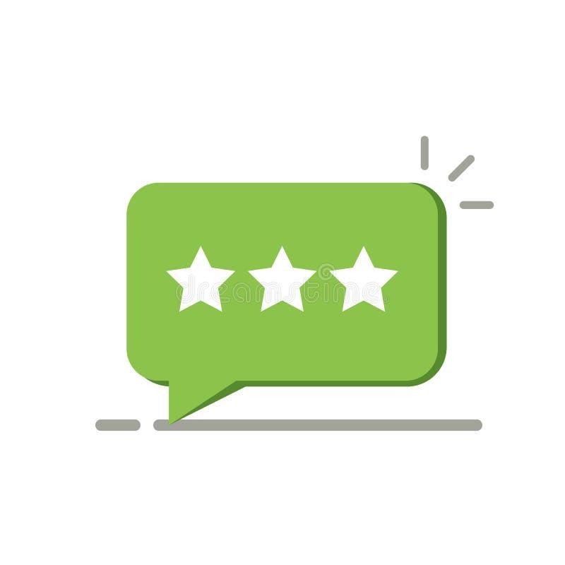 Veranschlagender Stern drei wie positives Feedback Konzept der Mitteilung, Meinung, Referenz, Grad ui, Benutzersteuerung, Kontrol stock abbildung