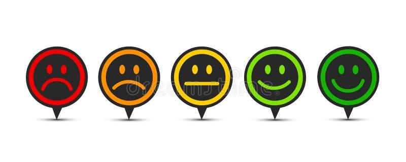 Veranschlagendes Zufriedenheits-Feedback in der Form der Gefühlspracheblase stock abbildung