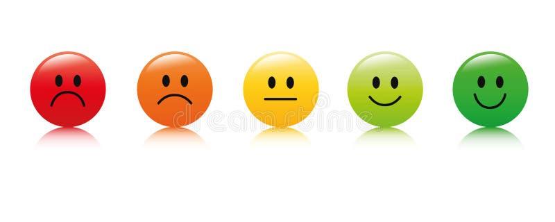 Veranschlagendes Zufriedenheits-Feedback in der Form von ausgezeichnetem gutem normalem schlechtem schrecklichem der Gefühle stock abbildung