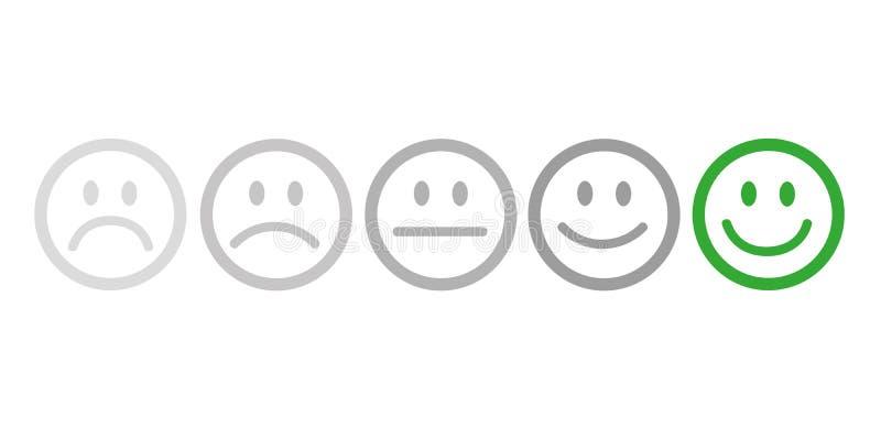 Veranschlagendes Zufriedenheits-Feedback in der Form von Gefühlen vektor abbildung