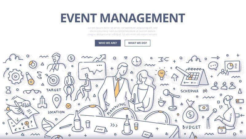 Veranstaltungsmanagement-Gekritzel-Konzept lizenzfreie abbildung