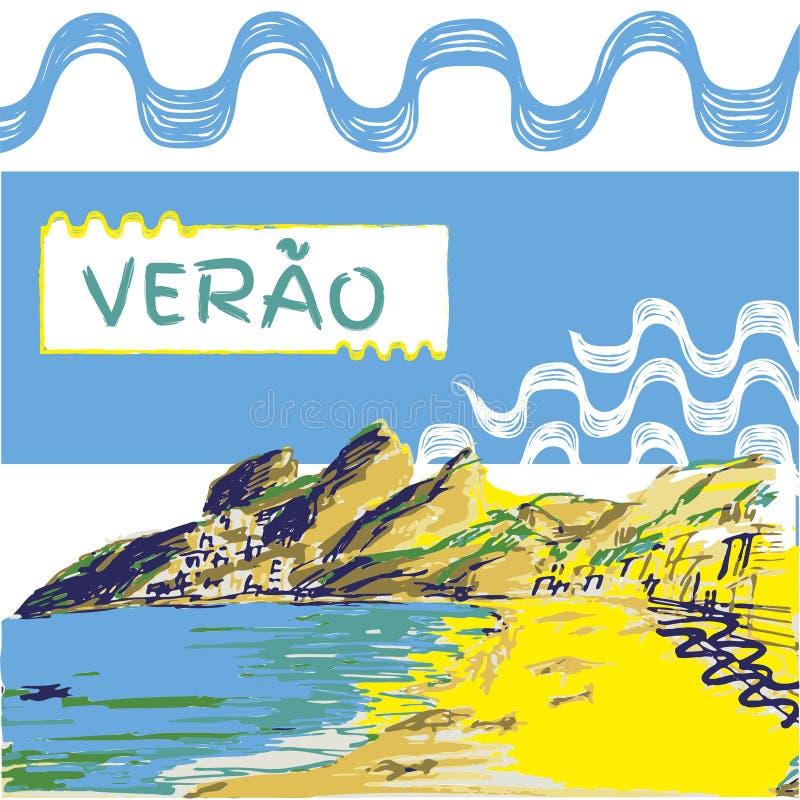 Verao, testo del Portoghese di estate illustrazione di stock