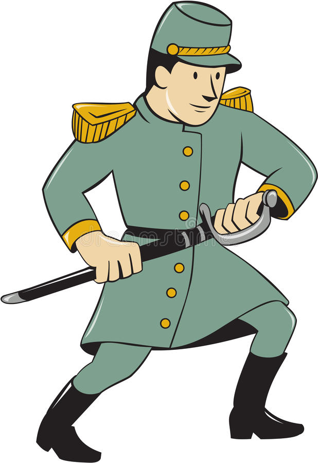 Verbündete Armee-Soldat Drawing Sword Cartoon vektor abbildung
