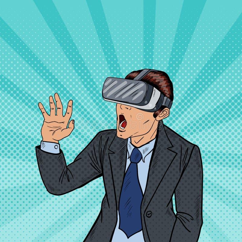 Verbaasde Bedrijfsmens in Virtuele Werkelijkheidsbeschermende brillen Pop-art royalty-vrije illustratie