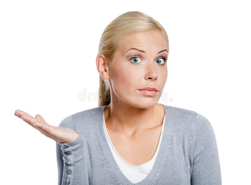 Verbaasde vrouw met haar omhoog palm royalty-vrije stock fotografie