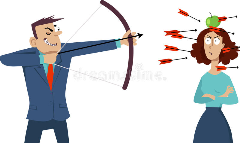 Verbal abuse. Smug businessman shooting arrows at the angry woman with an apple on her head, EPS 8 vector illustration vector illustration