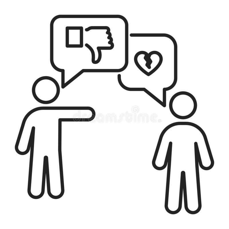 Free Verbal Bullying Black Line Icon. Harassment, Social Abuse And Violence. Isolated Vector Element. Outline Pictogram For Web Page, Stock Photo - 184254790