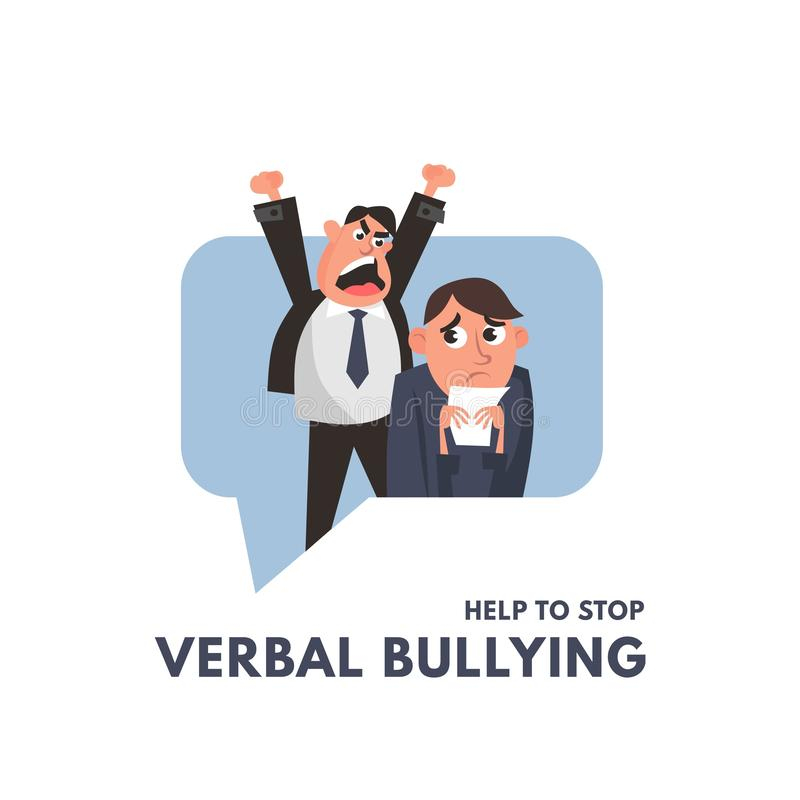 Verbal bullying between a boss and office worker. Workplace harassment illustration in cartoon style. Vector workplace bullying. Concept vector illustration