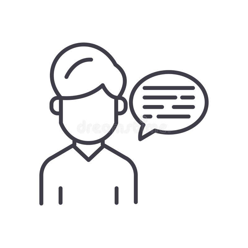 Verbal communication black icon concept. Verbal communication flat vector symbol, sign, illustration. stock illustration