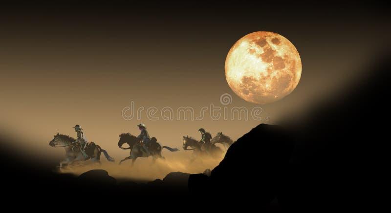 Verbant het ontsnappen onder volle maan vector illustratie