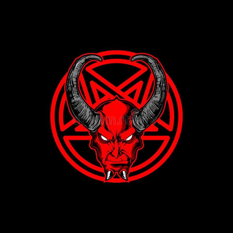 Verbazen satan met hoorn en pentagram vector royalty-vrije illustratie