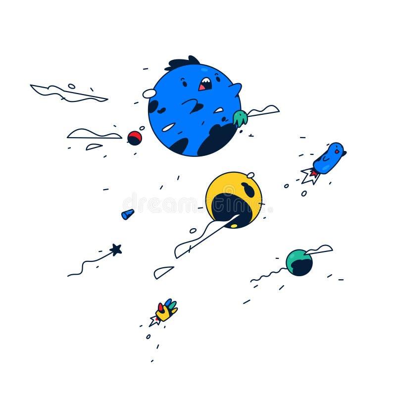 Verbazend beeldverhaalkarakter De blauwe bel levitatie ondergaat in ruimte Leuk monster Vector Vrolijke fantasiewereld sticker Ma stock illustratie