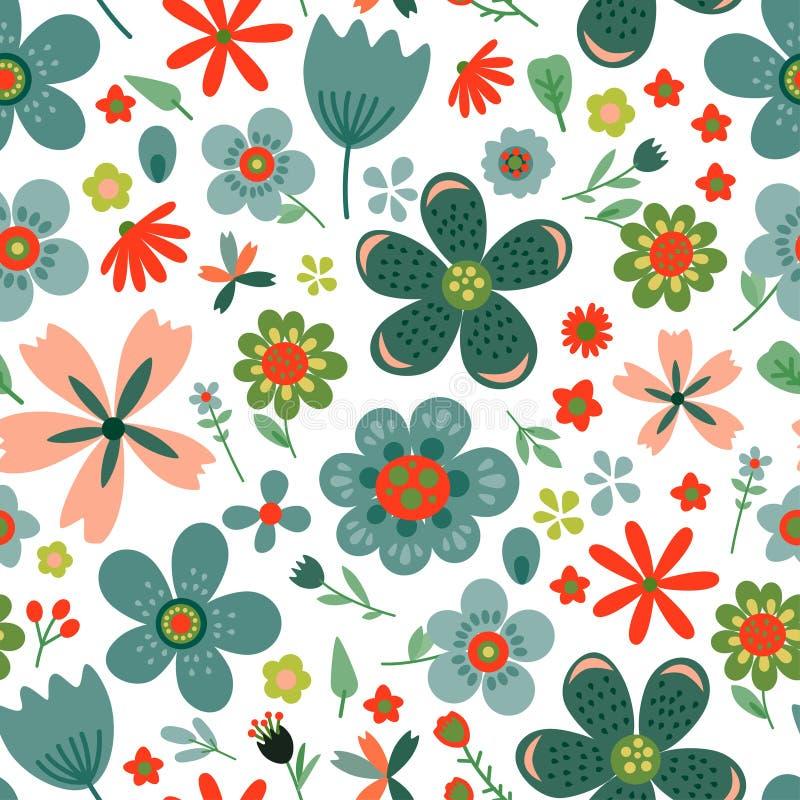 Verbazend bloemen vector naadloos patroon van bloemen stock illustratie
