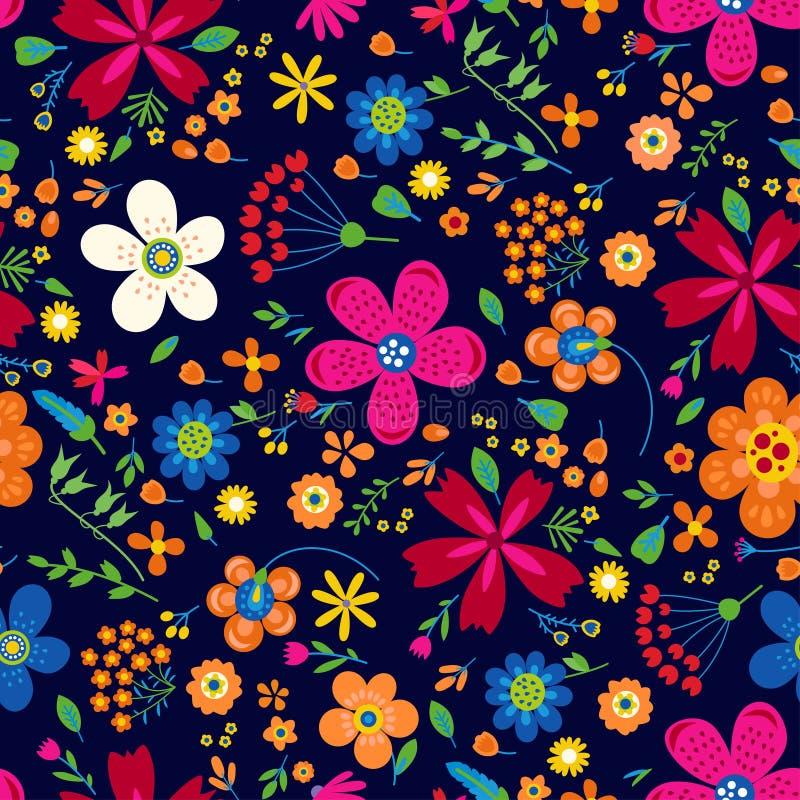 Verbazend bloemen vector naadloos patroon van bloemen vector illustratie