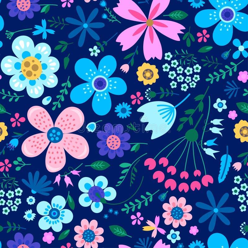 Verbazend bloemen vector naadloos patroon van bloemen royalty-vrije illustratie