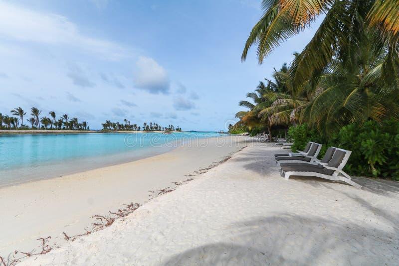 Verbazend eiland in de Maldiven, de Mooie turkooise wateren en het witte zandige strand met blauwe hemelachtergrond voor vakantie stock afbeeldingen