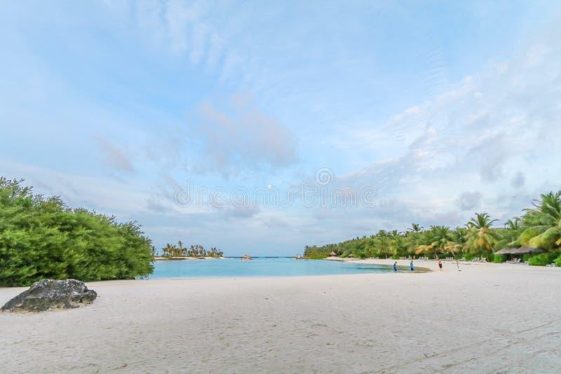 Verbazend eiland in de Maldiven, de Mooie turkooise wateren en het witte zandige strand met blauwe hemelachtergrond voor vakantie royalty-vrije stock afbeeldingen