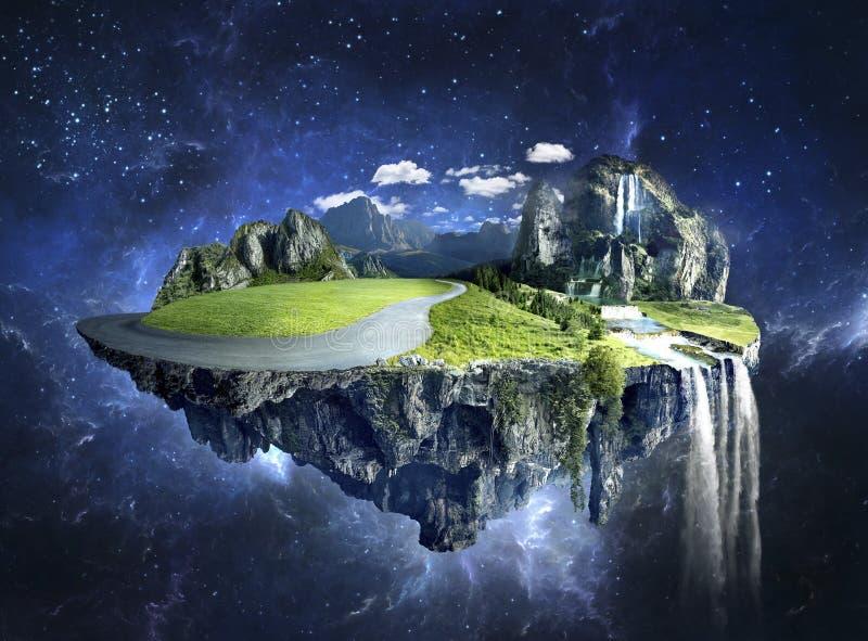 Verbazend eiland met bosje die in de lucht drijven royalty-vrije stock afbeelding