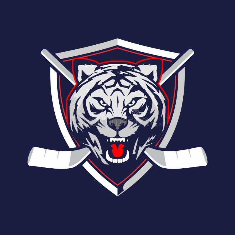 Verbazend en ontzagwekkend TIJGER hoofdbeeldverhaal met schild voor het embleem vectormalplaatje van het hockeyteam stock illustratie