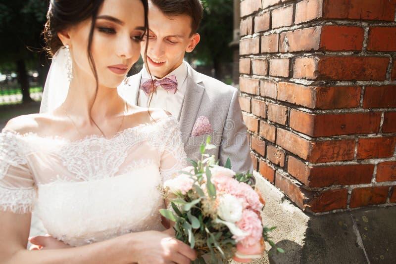 Verbazend huwelijkspaar Mooie bruid en modieuze bruidegom dichtbij de kerk stock afbeeldingen