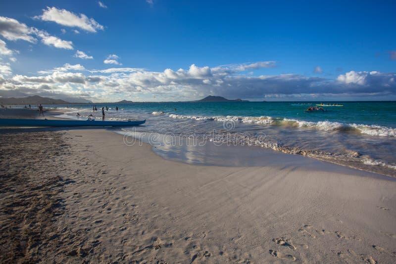 Verbazend Kailua-Strandpark Oahu Hawaï stock foto's