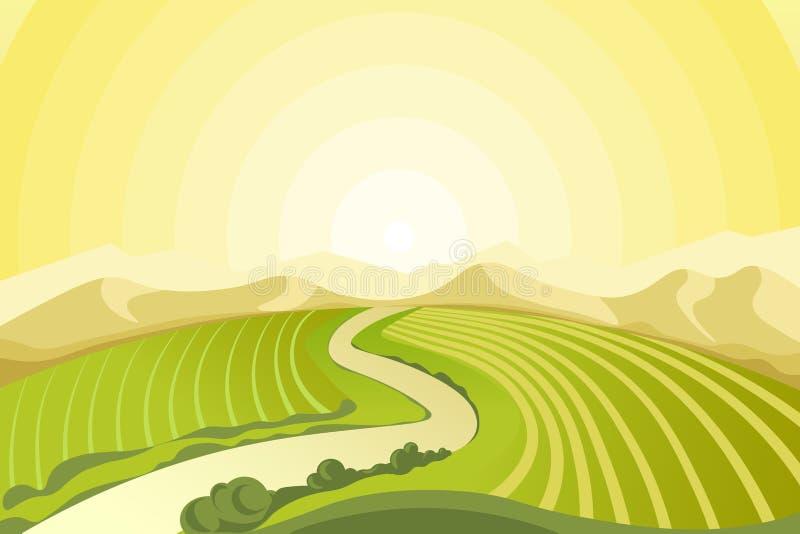 Verbazend landschap van zonsopgang boven gebieden bij platteland royalty-vrije illustratie