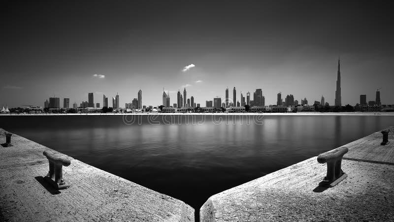 Verbazend panorama van het Strand van Doubai Jumeirah, Doubai, Verenigde Arabische Emiraten royalty-vrije stock foto's