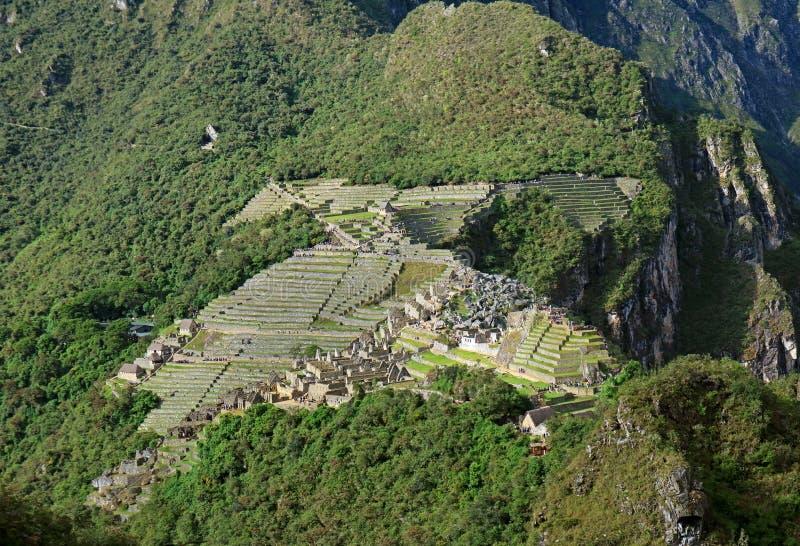 Verbazend satellietbeeld van de beroemde citadel van Machu Picchu Incas zoals die van de berg van Huayna Picchu, Cusco-Gebied, Pe royalty-vrije stock foto's