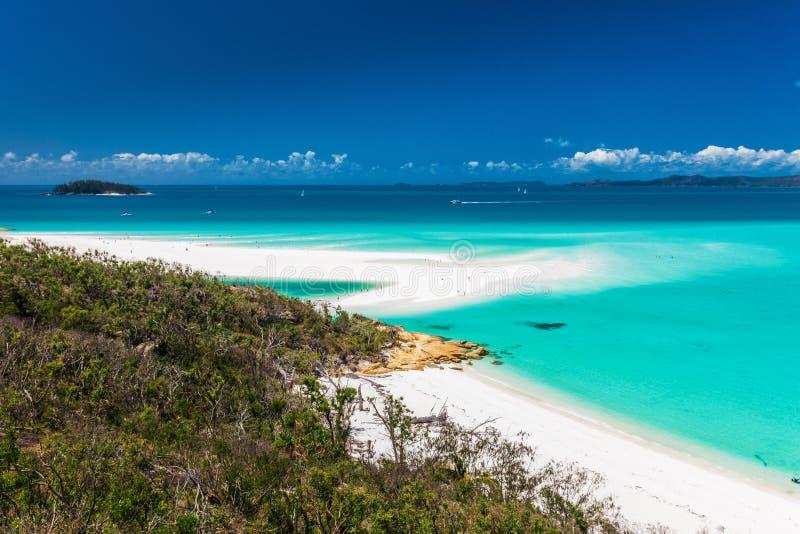 Verbazend Whitehaven-Strand in de Pinkstereneilanden, Queensland, stock foto's