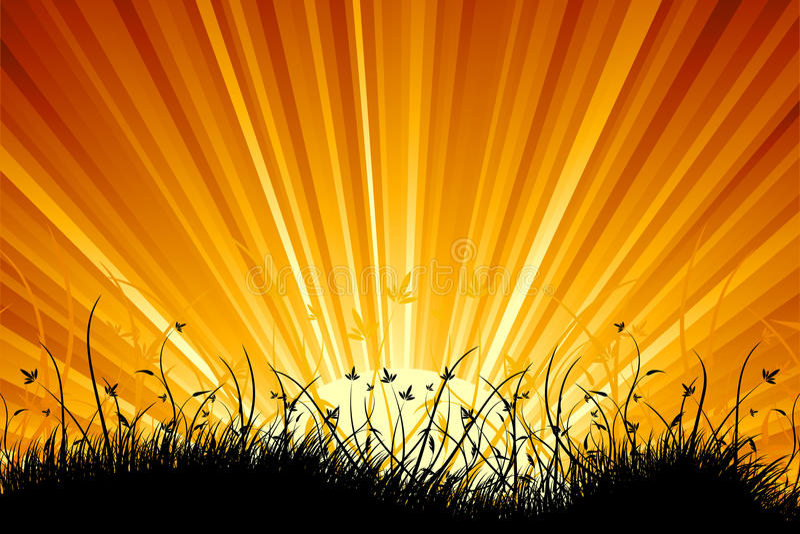Verbazend zonsopganglandschap stock illustratie