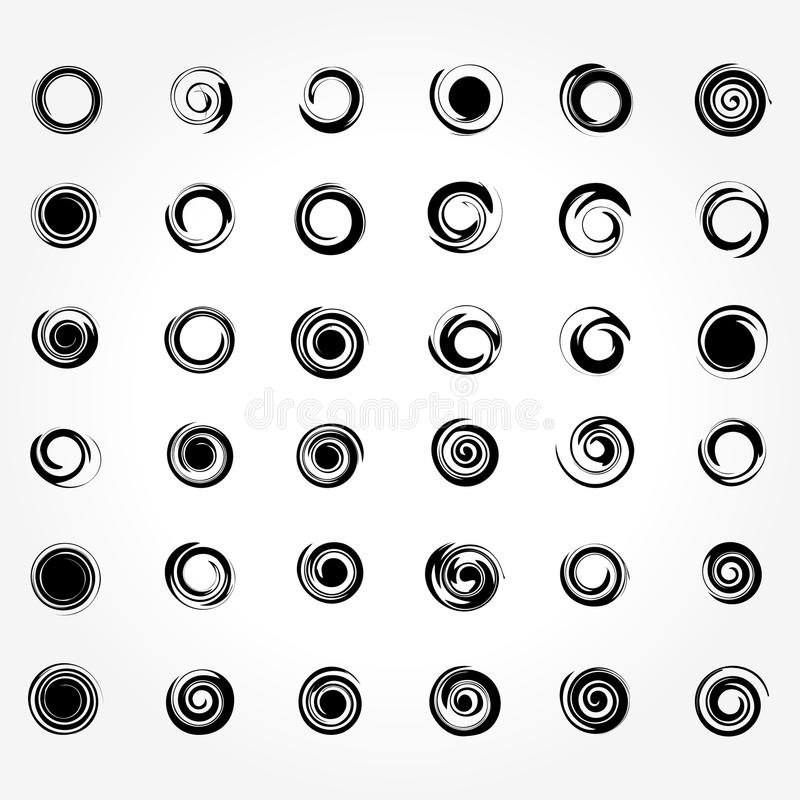 Verbazende Abstracte Spiraalvormige Vastgestelde Vectorillustratie in zwart-wit stock illustratie