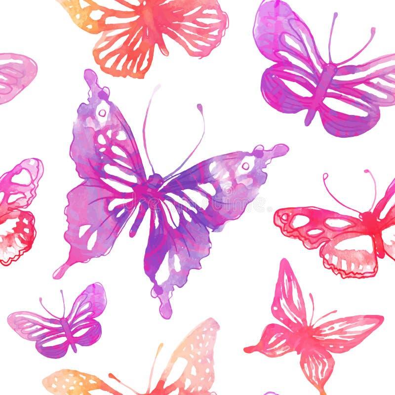 Verbazende achtergrond met vlinders en bloemen Naadloos Geklets royalty-vrije illustratie