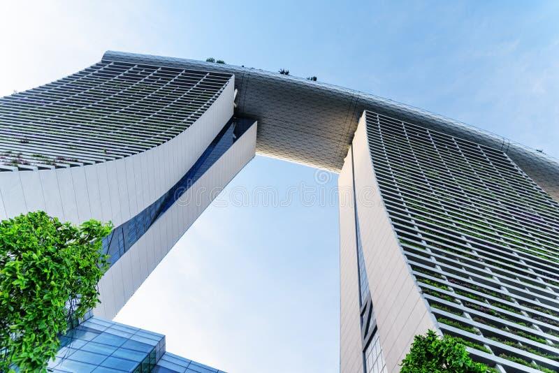 Verbazende bodemmening van beroemde Marina Bay Sands Hotel royalty-vrije stock foto