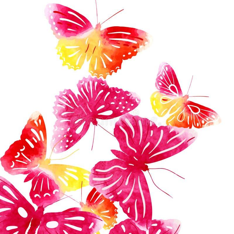 Verbazende die achtergrond met vlinders met waterverf wordt geschilderd royalty-vrije illustratie