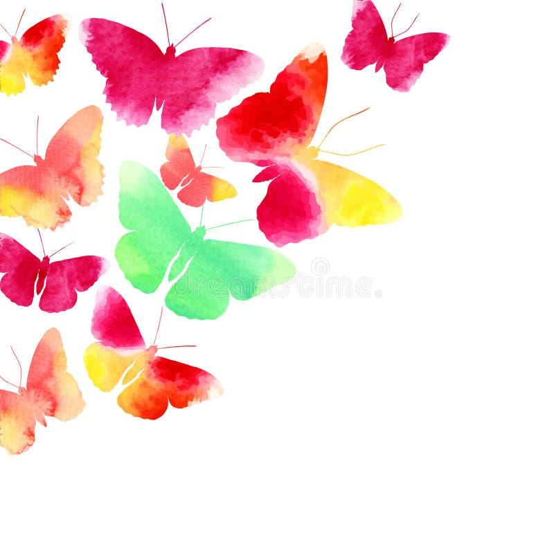 Verbazende die achtergrond met vlinders met waterverf wordt geschilderd stock illustratie