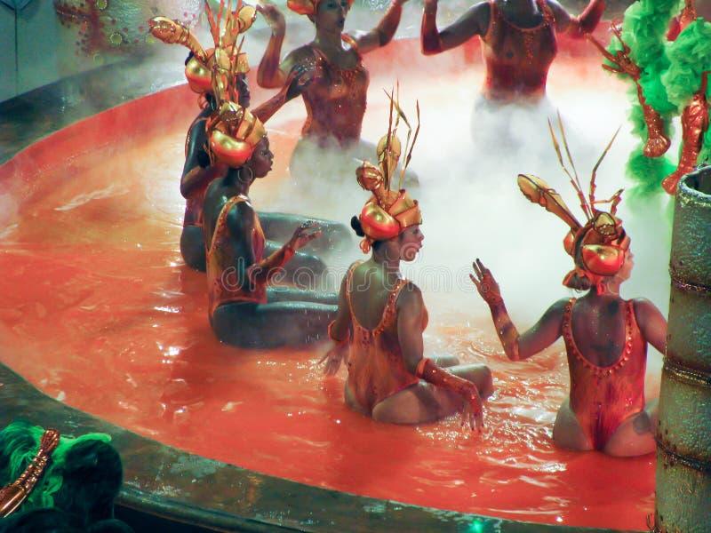 Verbazende extravagantie tijdens jaarlijks Carnaval in Rio de Janeiro royalty-vrije stock foto