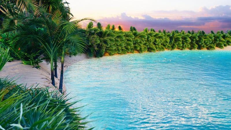 Verbazende fantastische oase in de woestijn Duidelijke dag Bergen, zandduinen, palmen en een wellustige hemel met wolken 3d stock illustratie