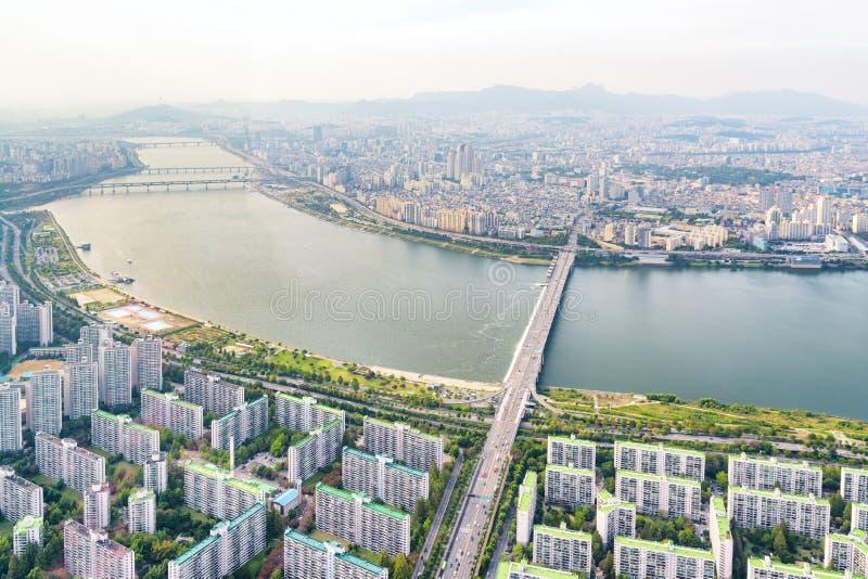 Verbazende hoogste mening van Han River, Seoel, Zuid-Korea stock afbeeldingen