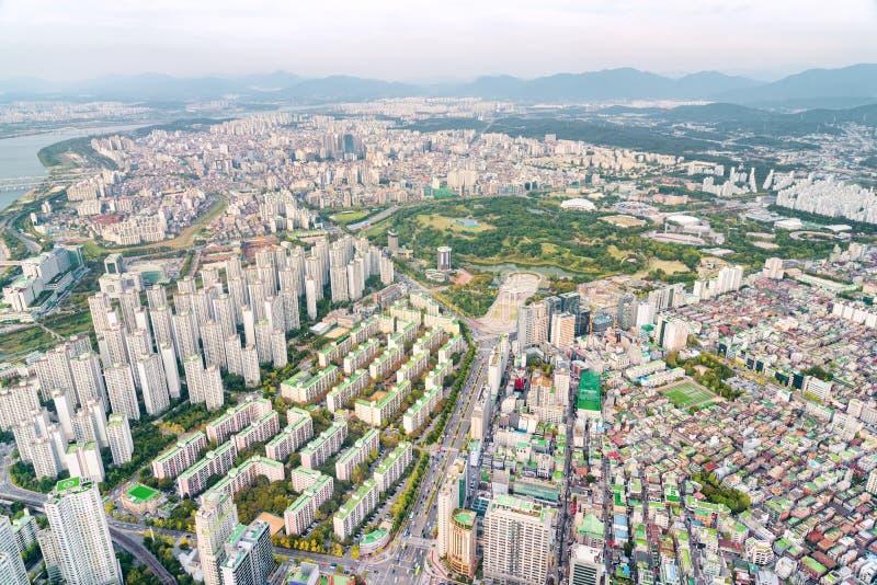 Verbazende hoogste mening van woonwijk van Seoel, Zuid-Korea royalty-vrije stock foto