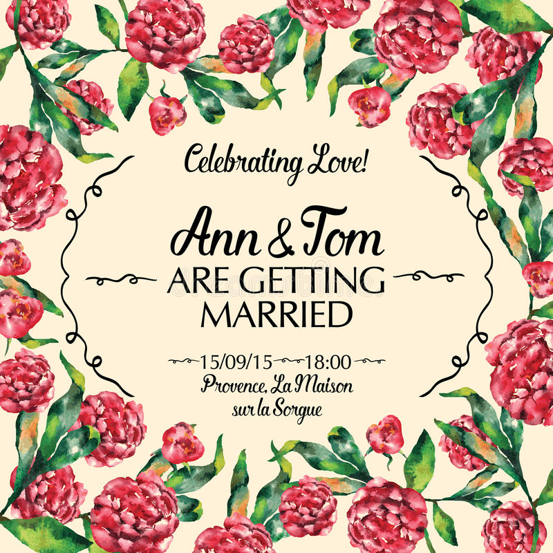 Verbazende huwelijksuitnodiging in waterverf vectorillustratie royalty-vrije illustratie