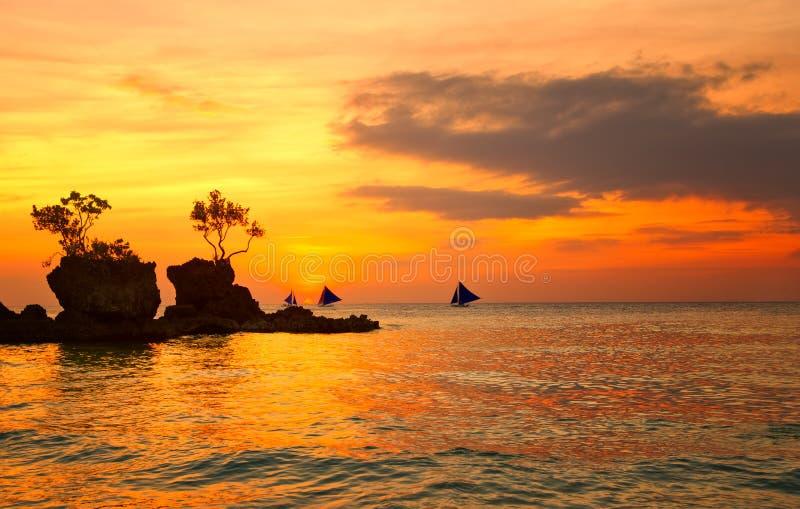Verbazende kleuren van tropische zonsondergang stock foto