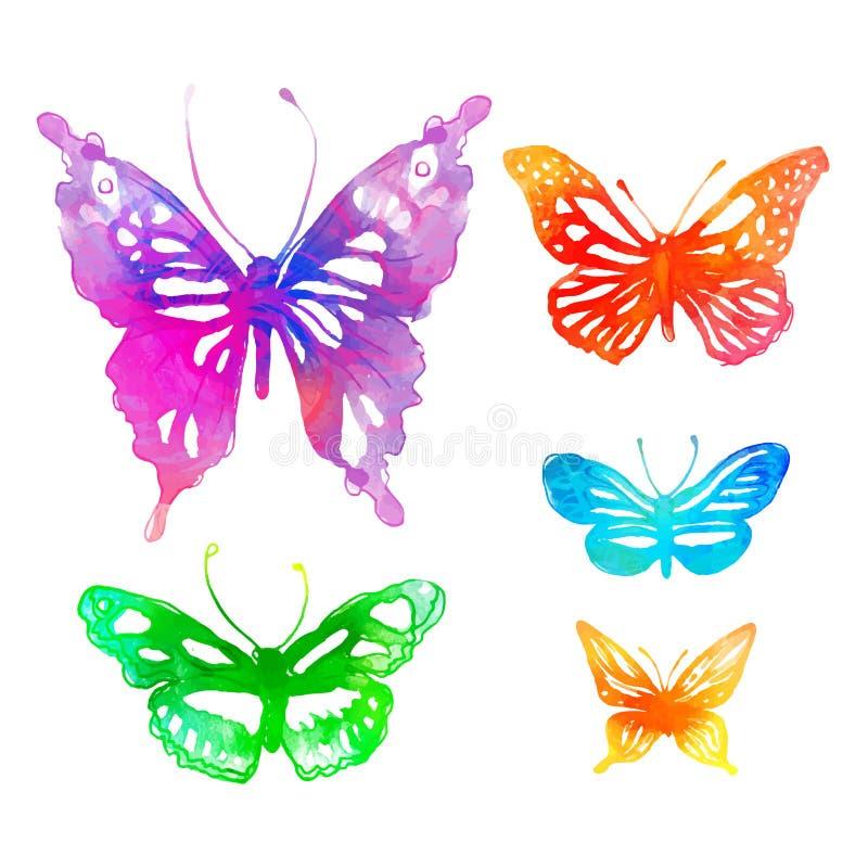 Verbazende kleurrijke achtergrond met vlinders, waterverf (vect royalty-vrije illustratie