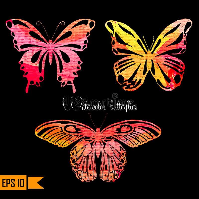 Verbazende kleurrijke reeks met geschilderde vlinders stock illustratie
