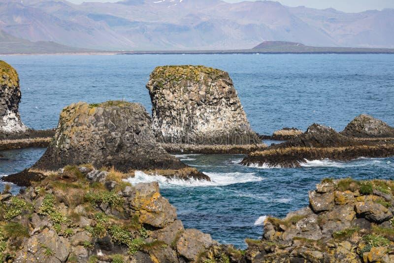 Verbazende mening aan de fantastische kustlijn van IJsland stock afbeeldingen