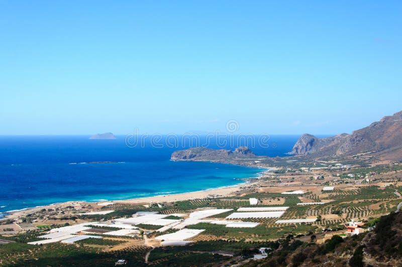Verbazende mening over de baai van Falassarna, het eiland van Kreta, Griekenland stock foto's
