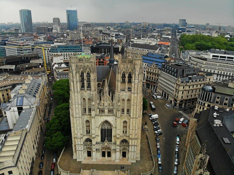 Verbazende mening van hierboven De hoofdstad van België Groot Brussel Zeer historische en toeristische plaats Moet zien Mening va royalty-vrije stock fotografie