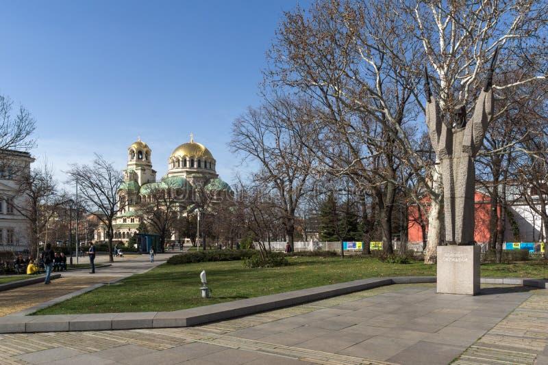 Verbazende mening van Kathedraal Heilige Alexander Nevski in Sofia, Bulgarije stock afbeeldingen